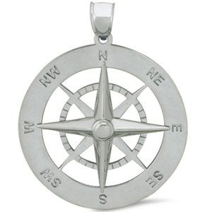 Sterling Silver Compass Pendant, 21.7mm
